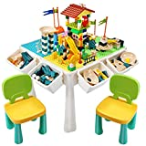 EIH 7-in-1 Multi Kids Activity Table Set, Building Block Table with 2 Chairs 208 PCS Large Building Blocks Water Table Outdoor Play Sand Table Arts Crafts Table for Kids 3+ Ages (Green+Yellow)