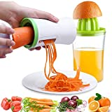 Handheld Vegetable Spiralizer and Manual Juicer, 2 in 1 Kitchen Gadget Vegetable Spiral Slicer Grater Cutter + Lemon Citrus Squeezer Orange Juicer Orange Juice Extractor