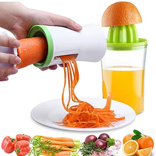 Cortador de Verduras y Exprimidor Manual, Espiralizador de Vegetales Máquina de Cortar espiral Cortadora de Hortalizas + Extractor de Jugo de Naranja de Jugo de Limón, 2 en 1 Gadgets de Cocina