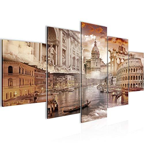 Bilder Italien Wandbild 200 x 100 cm Vlies - Leinwand Bild XXL Format Wandbilder Wohnzimmer Wohnung Deko Kunstdrucke Braun 5 Teilig - MADE IN GERMANY - Fertig zum Aufhängen 024451a