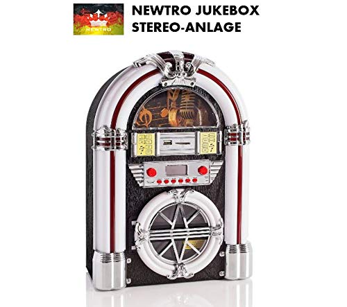 NEWTRO Jukebox Stereo-Anlage mit CD/CD-R/CD-RW/MP3, UKW/FM-Radio, USB/SD-Playback, AUX-IN, Fernbedienung, LED-Farbwechsel