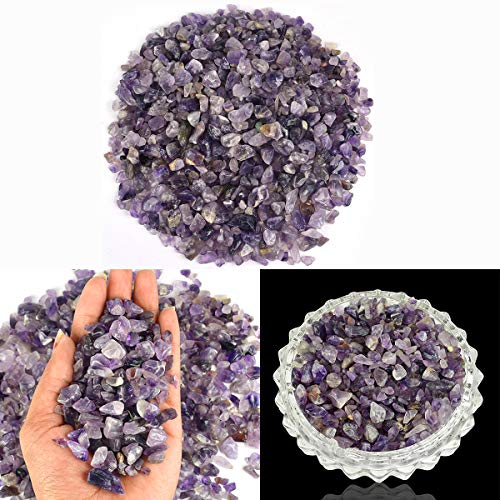 Reiki Crystal Products Natural Amethyst Crystal Stone Chips Dust Raw Rough Stone for Vastu Correction, Reiki Healing and Crystal Healing Stons Pack of 100 Gm Approx