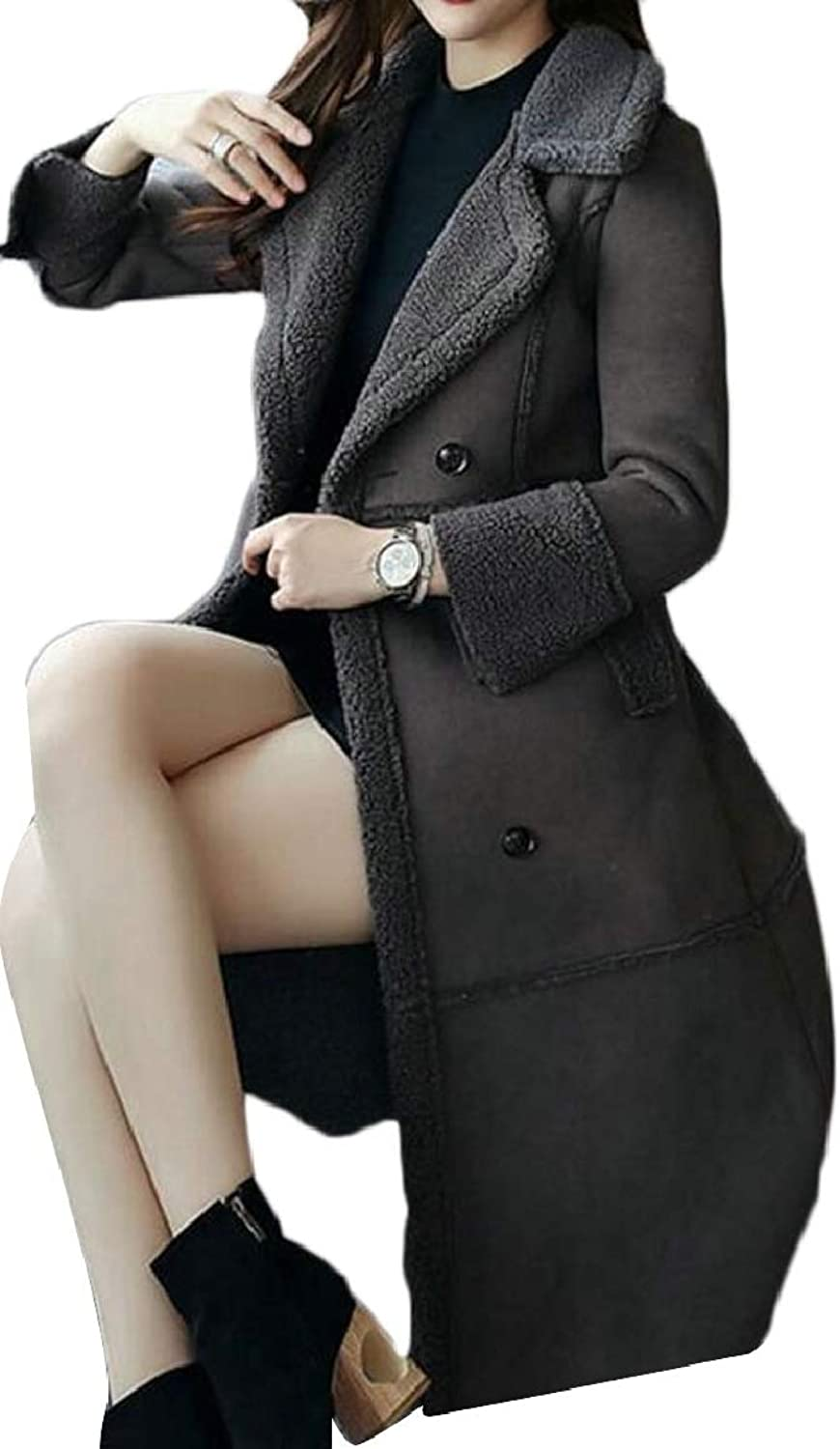 RGCA Women's Winter Lapel Faux Fur FleeceLined Double Breasted Jacket Coat