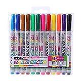 jenor 12colores Whiteboard Marker No Tóxico seco Borrar Mark caracteres plumín fino) Set Alimentación