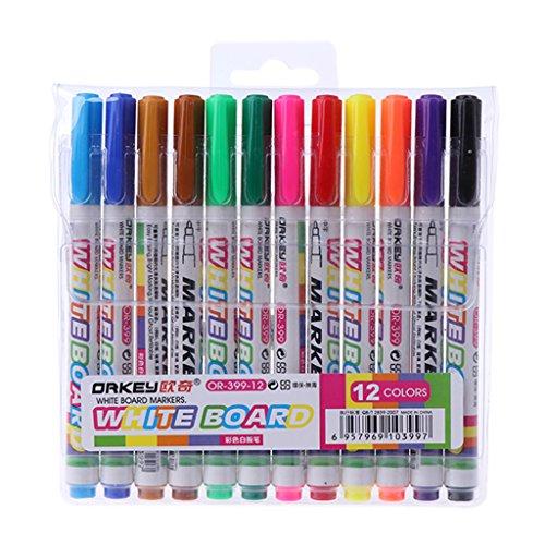 smallJUN 12-teiliger Whiteboard-Stift löschbare Kinderschüler mit Graffiti Mini-Trompete-Stift auf Wasserbasis Einfach zu löschen Stift Tafelstift Meeting Office Supplies