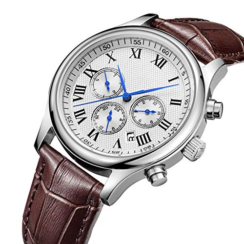 Horloge Voor Heren, Luxe Waterdichte Zaken Mechanische Horloge Zes Steken Glass Wijzerplaat Klok Chronograaf Met Datum Lederen Band