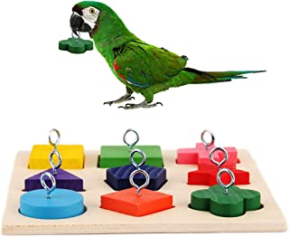 Geneic Parrot Wooden Block Puzzles Toy for for Parakeets, Budgies, Cockatiels, Conures, Lovebirds and Other Small Medium B...