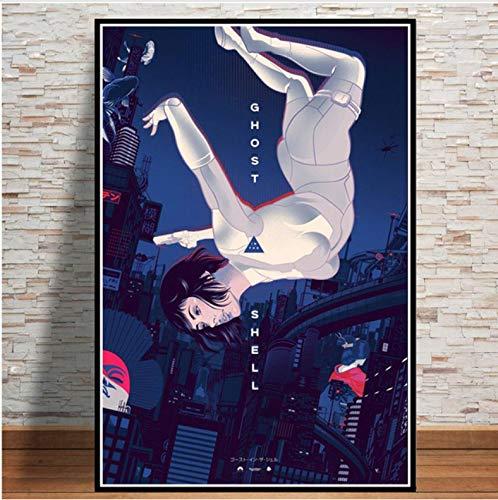 No Ghost In The Shell Fight Police Anime Art Poster Pintura De La Lona Imagen De La Pared Carteles E Impresiones Sala Decoración del Hogar 50X70Cm Sin Marco