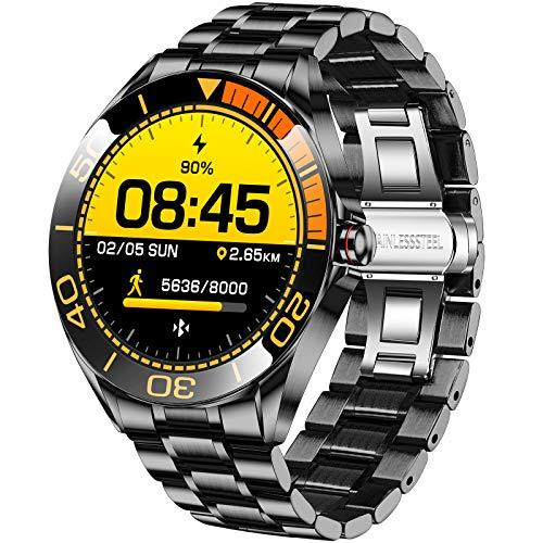 LIGE Reloj Inteligente Hombre de 1,3'', Monitor de Actividad con Pantalla Táctil, Resistente al Aagua IP68, Reloj de Aacero Inoxidable con Cronómetro para Android iOS