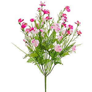 20.5″ Mixed Silk Sweet Pea Flower & Fern Bush -2 Tone Purple (Pack of 12)