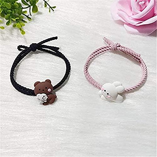 GUOL Pulseras MagnéTicas para Parejas CorazóN, Cute Bear Bunny Atraer Pulseras para Parejas, Juego De Pulseras MagnéTicas para Parejas Personalizado, Cuerda Trenzada Hecha A Mano A