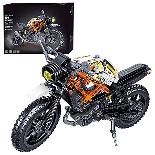 Morton3654Mam Juego de construcción de bloques de construcción para motocicleta, 477 piezas, para motocross, carreras, motocross, modelos, compatible con la técnica Lego