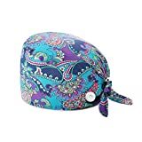 Family Made Company Working Cap with Button and Sweatband Adjustable Bouffant Working Hats for Women Men One Size Multi Color (D-05)