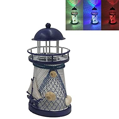 Luwint Color Changing LED Lantern Night Light Metal Vintage Openwork Ocean Lighthouse Wedding Lamp, 1 of 3 Mediterranean Styles, Batteries Included, with Greeting Card, 1 Pcs (Small/5.8'' High)