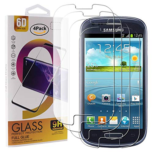 Guran 4 Paquete Cristal Templado Protector de Pantalla para Samsung Galaxy S3 Mini Smartphone 9H Dureza Anti-Ara?azos Alta Definicion Transparente Película