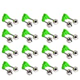 ZZBIQS 50 campanas de alarma para caña de pescar con clip de plástico estilo y doble alertas de metal para varillas (verde)