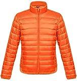ダウンジャケット メンズ 軽量 暖かい ウルトラライト ダウン コート コンパクト収納 おしゃれ ライト 防風 防寒 撥水 収納袋付き 立ち襟 オレンジ L
