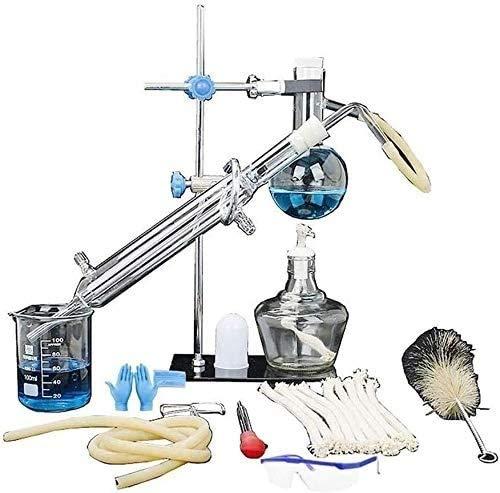 Apparecchi per distillazione di olio essenziale Kit di vetreria per purificatore di distillatore d'acqua con set di boccette per tubi del condensatore per l'insegnamento delle scienze industriali a ca