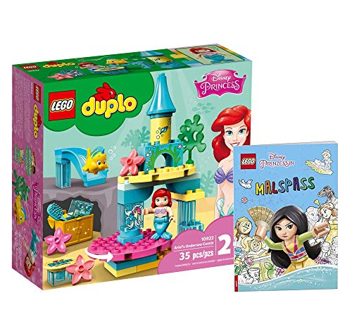 Collectix Lego Set - Lego Duplo Disney Ariel Underwater Castle (10922) + Disney Princess Painting Fun (Soft Cover), Gift Set from 2 Years