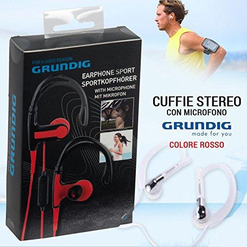 GRUNDIG KOPFHÖRER Stereo + MIKROFON Headset Sport für Smartphone iPod MP3Rot