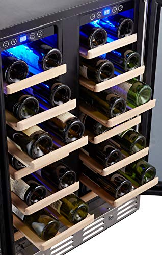 Kalamera KRC-40DZB 24' 40-bottle Wine Cooler Refrigerator with Dual Zone/Stainless Steel Door/Handle, Black