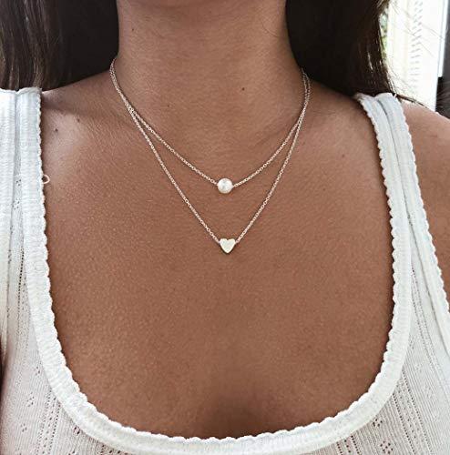 Jovono multicouches colliers coeur pendentif perle collier chaîne bijoux pour femmes et filles (Argent)