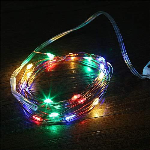 HenShiXin Impermeable Cobre llevó Las Luces 2 M 20 Leds CR2032 botón con Pilas Garland luz LED de Cadena de Navidad decoración de la Boda del Partido Operación fácil (Emitting Color : Pink)