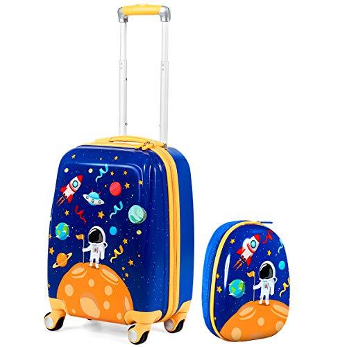 GOPLUS Set di 2 Pezzi da Viaggio, Valigia e Zaino per Bambini, Valigetta con 4 Ruote, Rosa/Blu, con Disegni Multicolore e Carini (Astronauta)