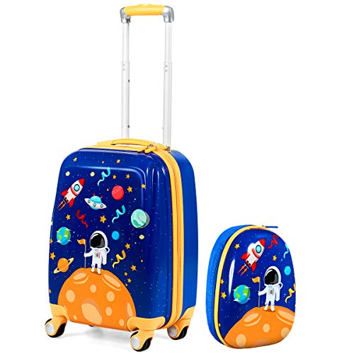 HONEY JOY 2 Pcs Kids Carry On Luggage, 12' Backpack & 18' Suitcase with Spinner Wheels, Water-Resistant Hardshell, Travel Rolling Trolley Luggage for Boy, Blue Astronaut