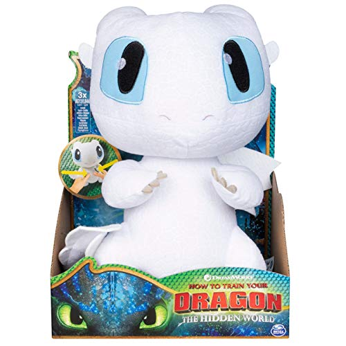 "How to Train Your Dragon 3: The Hidden World Squeeze and Growl Lightfury 10"" Plush Dragon with Sounds (Original Version)"