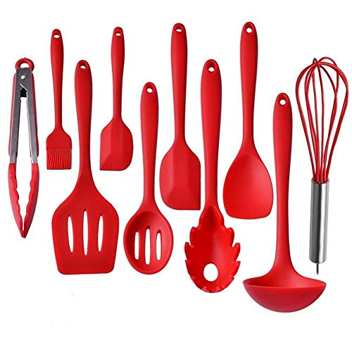 Kitchen Utensils, Silicone Heat-Resistant Non-Stick Kitchen Utensil Set Cooking Tools 10 Piece, Whisk, Spoon,Brush,spatula, Ladle Slotted turner, Tongs, Pasta Fork and Spoon Rest (red)