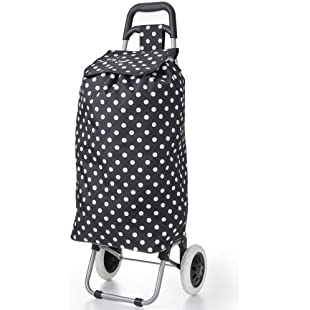 Hoppa 47L Lightweight Shopping Trolley, Hard Wearing & Foldaway for Easy Storage with 3 Years Guarantee (Black Polka Dot):Dailyvideo