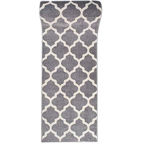 Carpeto Rugs Teppich Läufer Flur - Orientalisch Teppichläufer - Kurzflor, Weich - Flurläufer für Wohnzimmer, Schlafzimmer - Teppiche - Meterware - Grau Weiß - 60 x 150 cm
