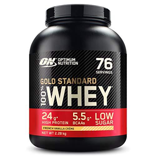 Optimum Nutrition ON Gold Standard Whey Protein Pulver, Eiweißpulver Muskelaufbau mit Glutamin und Aminosäuren, natürlich enthaltene BCAA, French Vanilla Crème, 76 Portionen, 2,28kg
