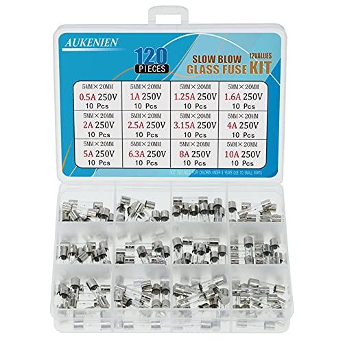 AUKENIEN 12 Wert 120 Stück Schmelzsicherung Sicherung Feinsicherung Träge Traege T 0,5A 1A 1,25A 1,6A 2A 2,5A 3,15A 4A 5A 6,3A 8A 10A 250V Sicherungen 5x20MM Glassicherung Glasrohrsicherung
