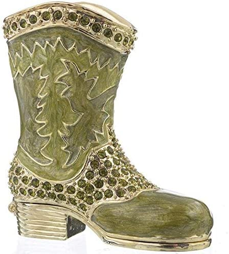 Green Musketeer Shoe Trinket Rare Box with service Boot Decorated C Swarovski