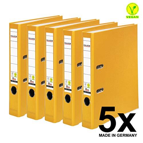Original Falken 5er Pack PP-Color Kunststoff-Ordner. Made in Germany. 5 cm schmal DIN A4 gelb Vegan Ringordner Aktenordner Briefordner Büroordner Plastikordner Schlitzordner