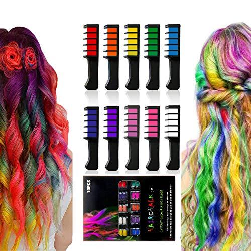 Haarkreide, 10 Farben Temporäre waschbare Haarfarbe Kreide Halloween Geburtstag Weihnachten Cosplay und DIY, ungiftiges Geschenk für Mädchen Jungen Teen Kinder