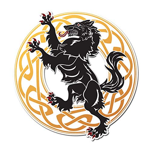 Dark Spark Decals Rearing Celtic Knot Wolf - 4 Inch Full Color Vinyl Decal for Indoor or Outdoor use, Cars, Laptops, Décor, Windows, and More