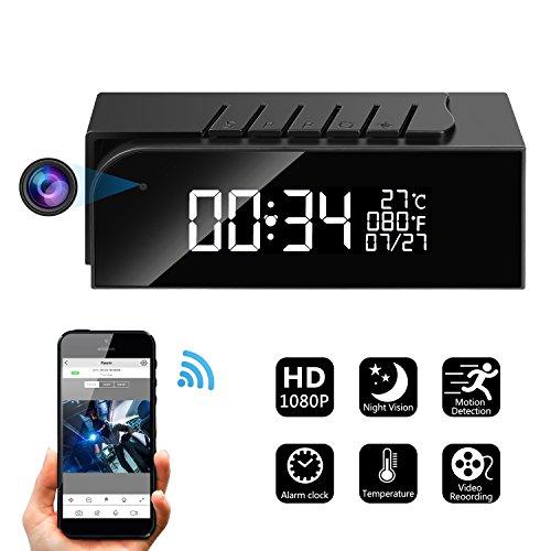 Hidden Camera Alarm Clock Spy Camera WiFi Cameras Wireless Mini Nanny Cam Motion Detection Home Surveillance Security Super Night Vision Temperature...