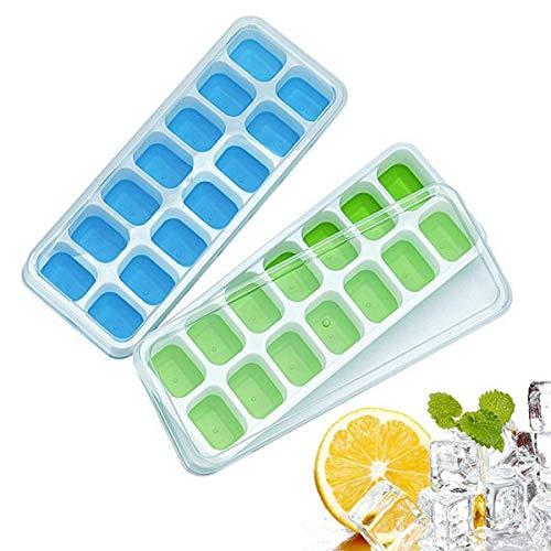 Silikon Eiswürfelschalen 2er Pack mit abnehmbaren Deckeln, Easy-Release und flexiblen 28 Eiswürfelformen mit auslaufsicherem LFGB-Zertifikat und BPA-frei