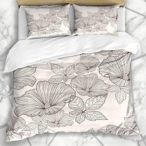 Juegos de fundas nórdicas Rosa geométrico Estampado floral Flores Hojas Lindo Abstracto Verde Moderno Botánico Naturaleza Retro Verano Ropa de cama de microfibra con 2 fundas de almohada Fácil cuidado