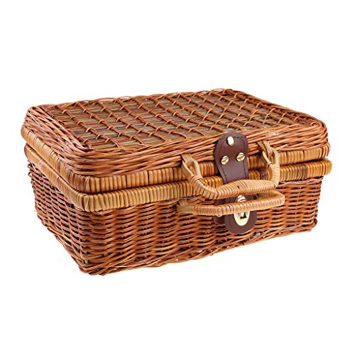 junengSO Handgemachte Reise Picknick Bambus Mini Rattan Koffer Gewebte Frucht Kosmetische Lebensmittelbox
