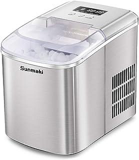 Sunmaki Machine à glaçons - 12 kg - 24 h - En acier inoxydable - Réservoir d'eau de 2,1 l - Machine à glace 120 W - Produc...