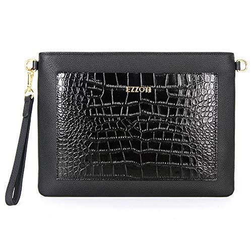 EZZOTI Axel - Funda de piel italiana con cierre de cremallera, diseño de cocodrilo negro