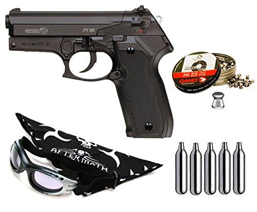 Outletdelocio Pack Pistola Perdigón Gamo PT-80 4,5mm. Potencia 3,4 Julios + Gafas antivaho + pañuelo Cabeza Decorado, balines + bombonas co2