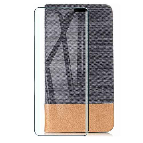 HYMY Hülle für LG Velvet 4G + Schutzfolie - Einfacher Stil Leinwand-Stitching PU Lederhülle Flip mit Card Slot Handyhülle Hülle für LG Velvet 4G - Schwarz