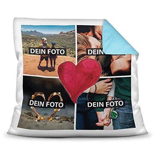 Print Royal Foto-Kissen inkl. Füllung zum Selbstgestalten - mit eigener Collage Bedruckt - Liebe/Familie/Foto-Geschenk/Deko-Kissen/ 40x40 - Rückseite Hellblau