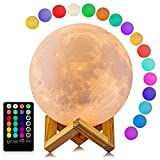 Moon Lamp, LOGROTATE 16 Colors LED Night Light 3D Print Moon Light with Stand & Remote/Touch Control and USB Rechargeable, Moon Light Lamps for kids friends Lover Birthday Gifts (Diameter 4.8 INCH)