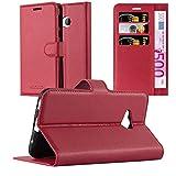 Cadorabo Hülle für HTC U Play - Hülle in Karmin ROT – Handyhülle mit Kartenfach & Standfunktion - Hülle Cover Schutzhülle Etui Tasche Book Klapp Style